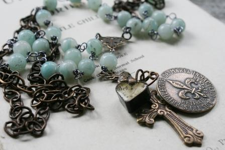 Ave Maria Tag Necklace-necklace, rosary style, fleur de lis, cross, heart, brass, religious, long, amazonite, semi precious, layering, wholesale, tippy stockton