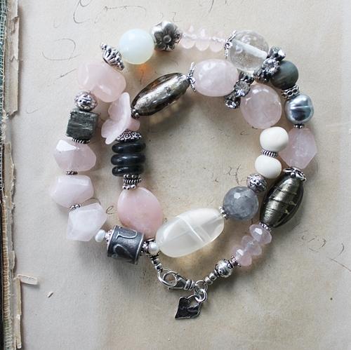Mixed Gem and Glass Bracelet - The I LOVE You Bracelet