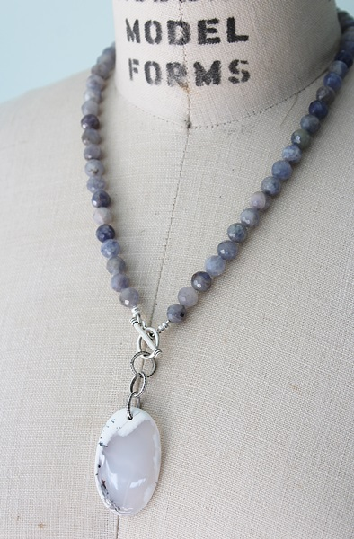 Iolite and Dendritic Opal Pendant Necklace - The Willa Necklace