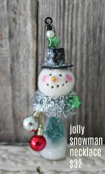 Jolly or Holly Snowman/Snowgirl Necklace