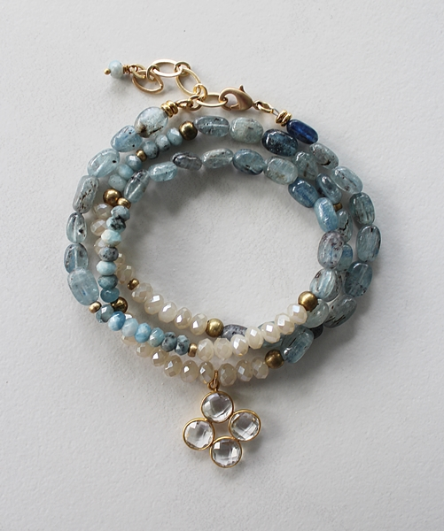 Kyanite, Aquamarine, and Czech Glass Bracelet/Necklace - The Kyra Bracelet Necklace