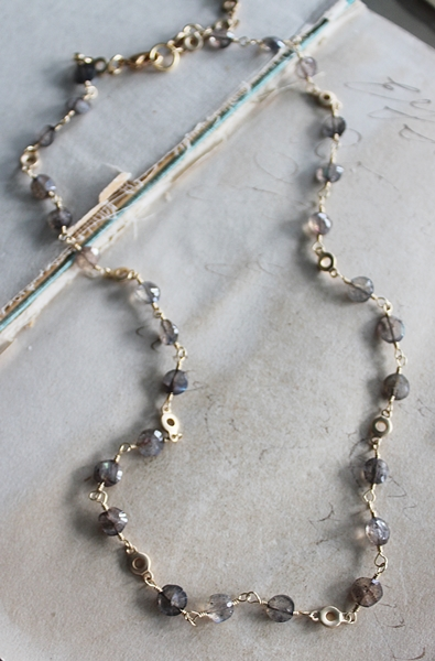 Labradorite and Gold Choker Necklace - The Shayla Necklace