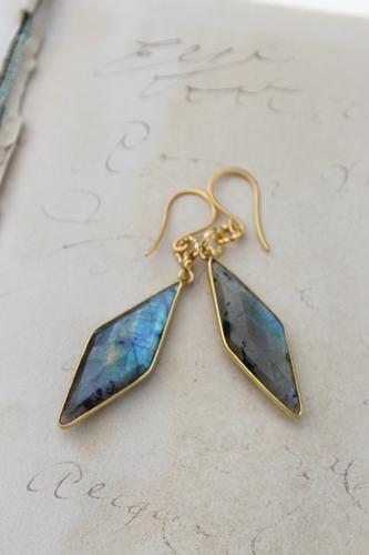 Labradorite Diamond Shaped Earrings - The Talia Earrings