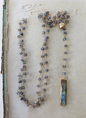 Labradorite Bar Lariat Necklace - The Jordan Necklace