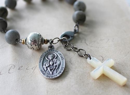 Labradorite and Mother of Pearl Cross Prayer Bracelet - The Prayer Bracelet