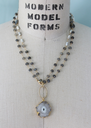 Labradorite Silverite and Solar Quartz Pendant Necklace - The Astrid Necklace