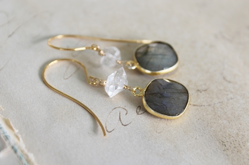 Labradorite and Clear Quartz Earrings - The Jeri Earrings