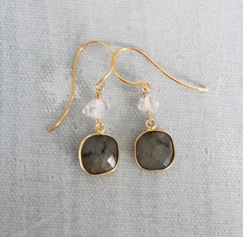 Labradorite and Clear Quartz Earrings - The Jeri Earrings