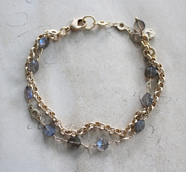 Labradorite and Gold Chain Double Strand Bracelet - The Shayla Bracelet