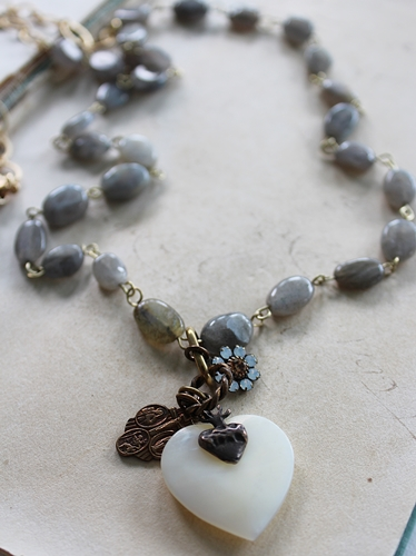 Labradorite and MOP Heart Necklace - The Gaby Necklace