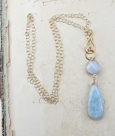 Lace Agate Lariate Style Necklace - The Alyssa Necklace