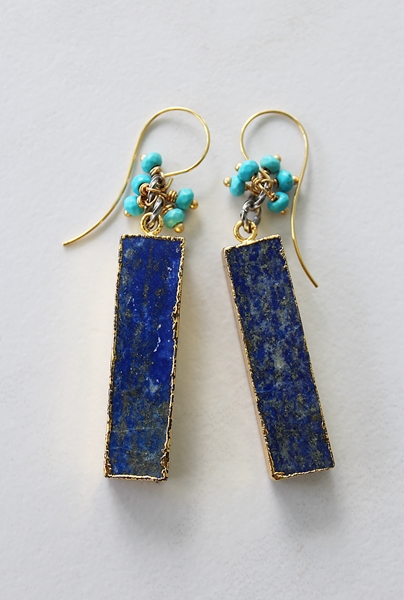 Lapis Bar with Turquoise Drop Earrings - The Rhea Earrings