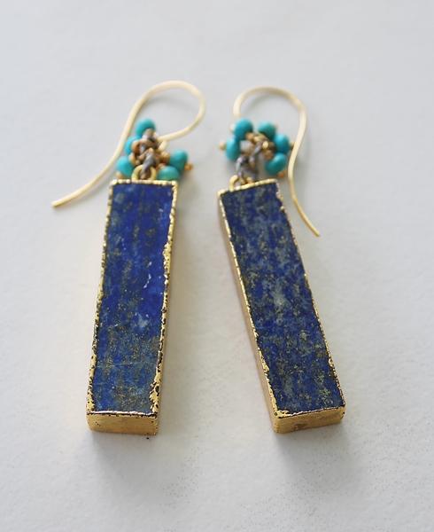 Lapis Bar with Turquoise Drop Earrings - The Rhea Earrings