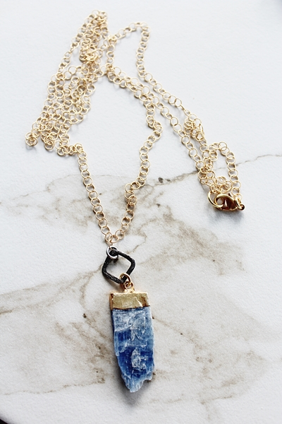 Lapis Pendant and Mixed Metal Necklace - The Kasey Necklace