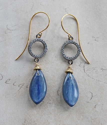Kyanite Drops with CZ Connector Earrings - The Suzanne Earrings