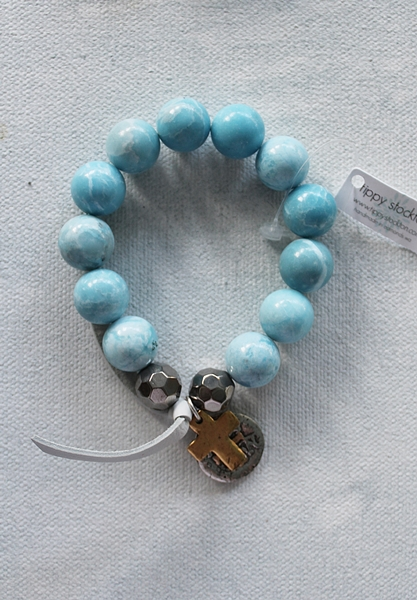 Larimar Stretch Bracelet with Cross