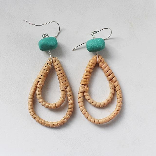 Rattan and Teal Lucite Hoop Earrings - The Joey Earrings