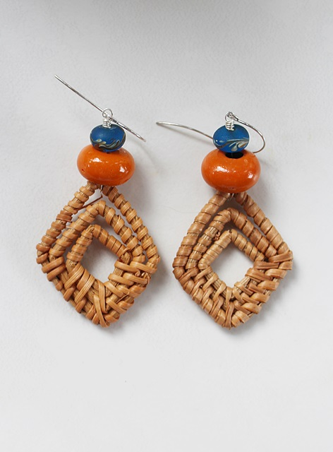 Rattan Hoop with Teal/Orange Earrings - The Callie Earrings