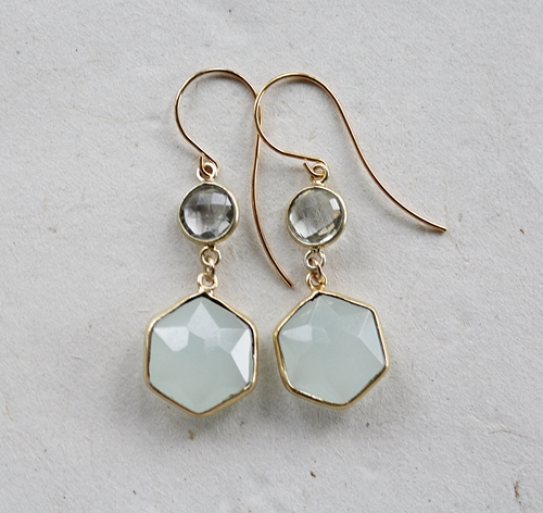 Sea Green Chalcedony and Moss Aquamarine Earrings - The Delia Earrings