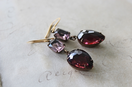 Pink and Plum Vintage Glass Drop Earrings