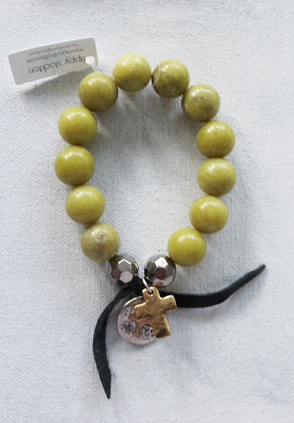Lime Jade with Cross or Blessed Mother Charm