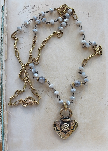 Vintage Brass Heart Australian Moonstone and Glass Necklace - Be Still my Heart