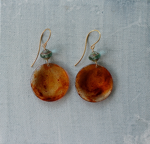 Amber Lucite and Czech Glass Earrings - The Trina Earrings