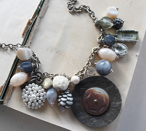 Market Day Trinket Necklace - Gray and Cream