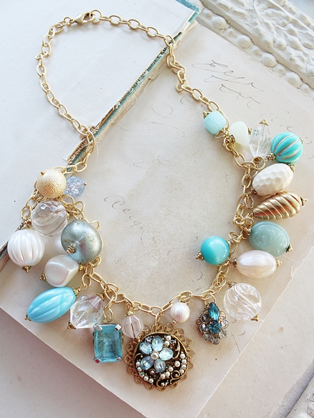 Market Day Trinket Necklace - Cream and Aqua Blue