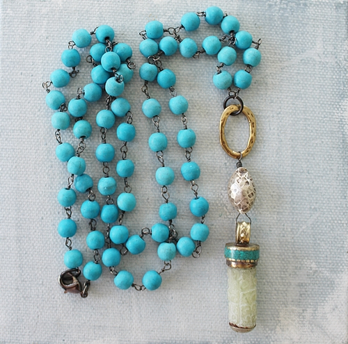 Magnesite and Jade Pendant Necklace - The Micah Necklace