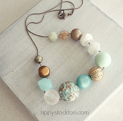 Market Day Vintage Lucite Necklace - Aqua and Gold