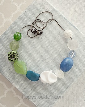 Market Day Vintage Necklace  - Lime and Blue