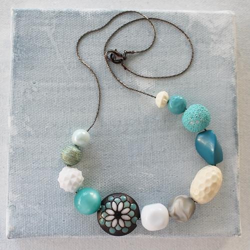 Market Day Vintage - Navy Cream Aqua Necklace