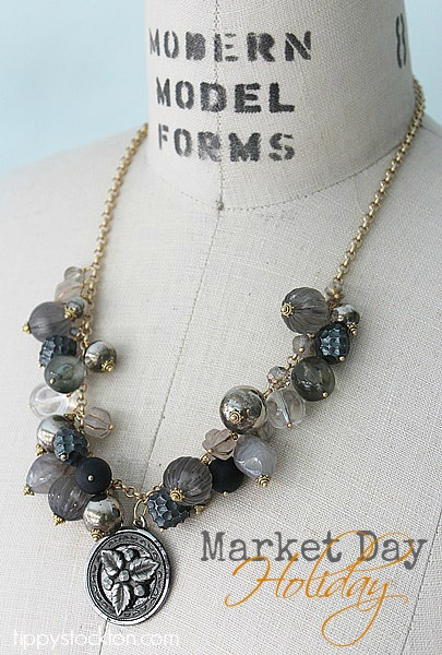 Market Day Holiday Necklace - Gunmetal Gray, Black and Silver