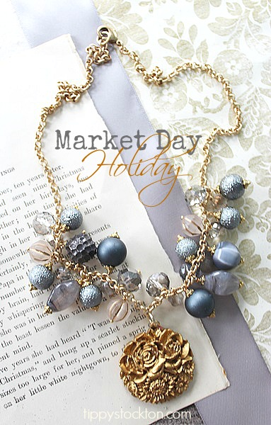 Market Day Holiday Necklace - Steel Blue, Gray and Gold