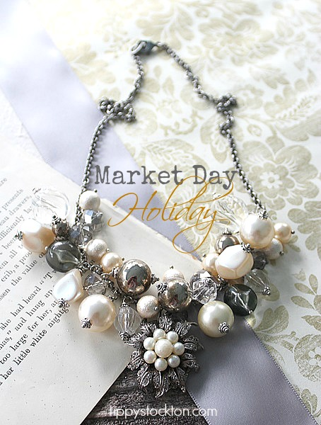 Market Day Holiday Necklace - Pearl, Clear, Silver