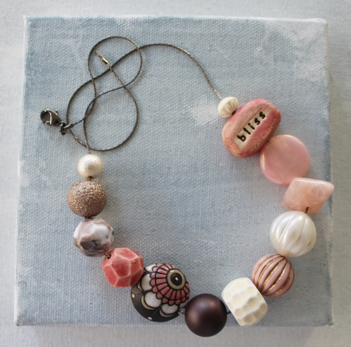 Market Day Vintage - Pink Brown BLISS Necklace