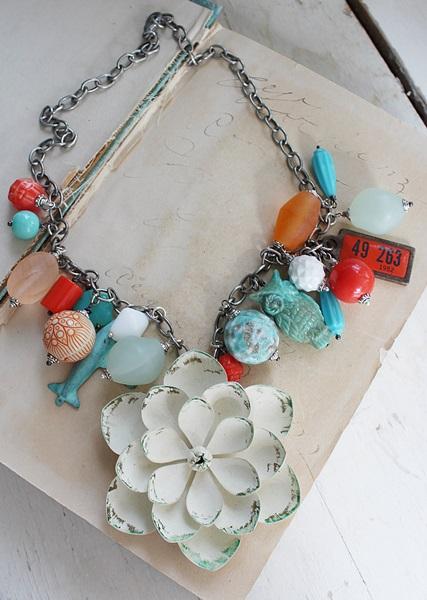 Market Day Vintage Trinket Necklace - Aqua and Orange