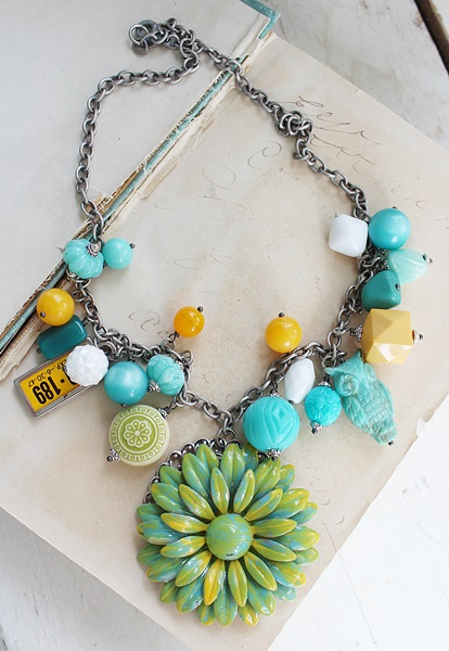 Market Day Vintage Trinket Necklace - Aqua and Yellow