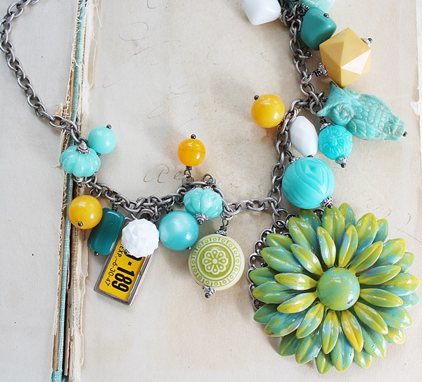 Market Day Vintage Trinket Necklace - Aqua and Yellow