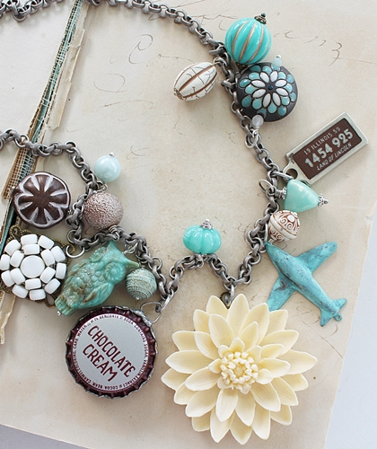 Market Day Trinket Necklace - Aqua Brown and Cream OOAK Necklace