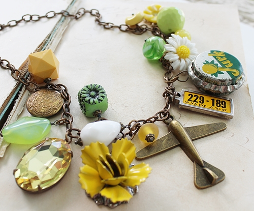 Market Day Trinket Necklace - Daisy Yellow and Green OOAK Necklace