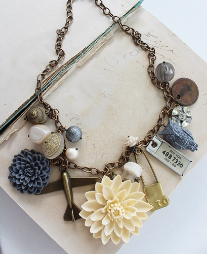 Market Day Trinket Necklace - Gray and Cream OOAK Necklace