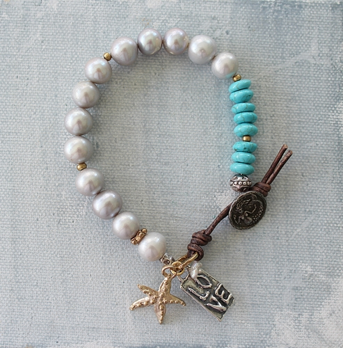 Fresh Water Pearls Turquoise and Mermaid Button Bracelet - The Sea Princess Bracelet
