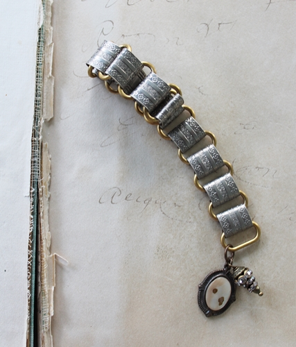 Vintage Metal Cuff with Mother of Pearl Charm Bracelet