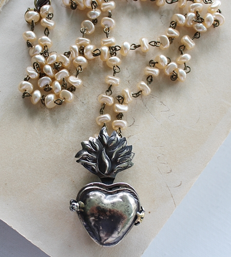 Glass Pearl Rosary Chain and Sterling Silver Milagros Locket Necklace - The San Miguel Necklace