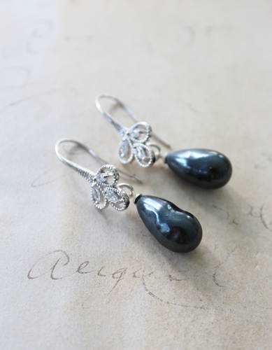 Vintage Gray Glass Pearl and CZ Earrings