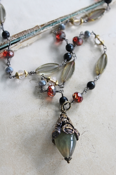 Mixed Czech  Glass and Floral Capped Fluorite Pendant Necklace - The Gigi Necklace