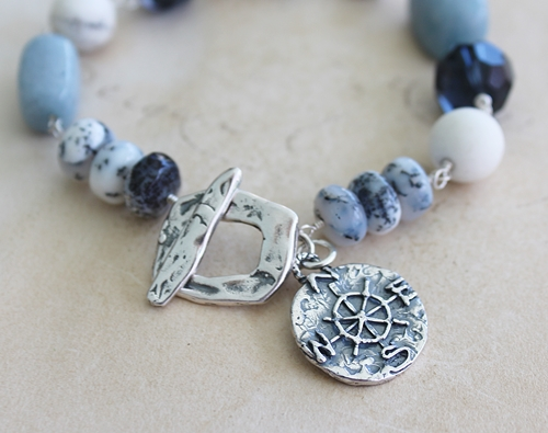 Dendritic Opal, White Turquoise, Vintage Glass and Sterling Silver Bracelet - Compass Bracelet