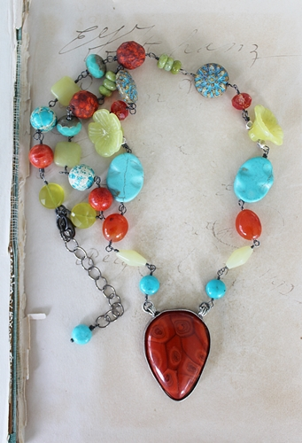 Teardrop Orange Pendant with Mixed Gem Necklace -  The Miranda Necklace